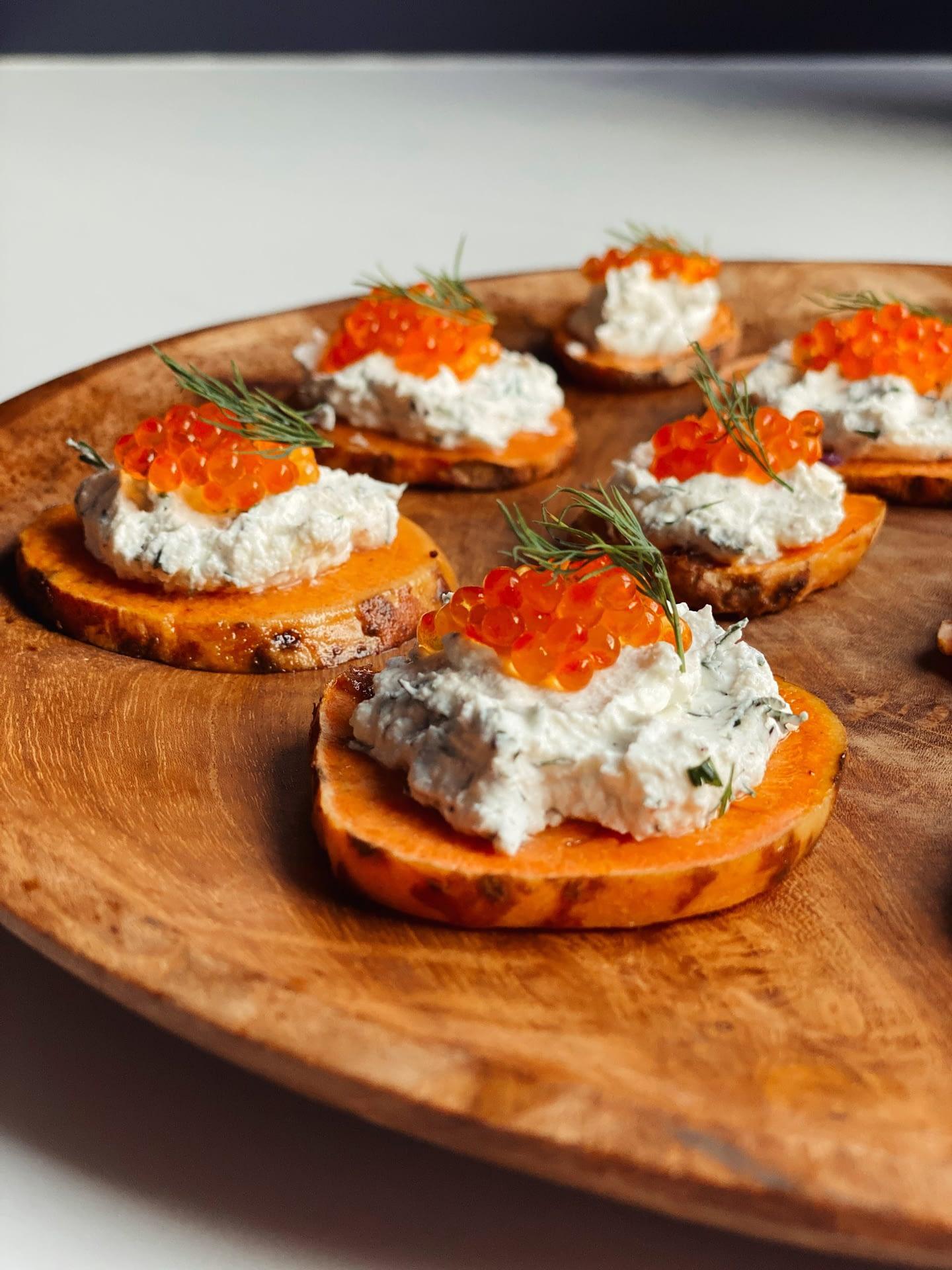 Croquants de patate douce au fromage frais