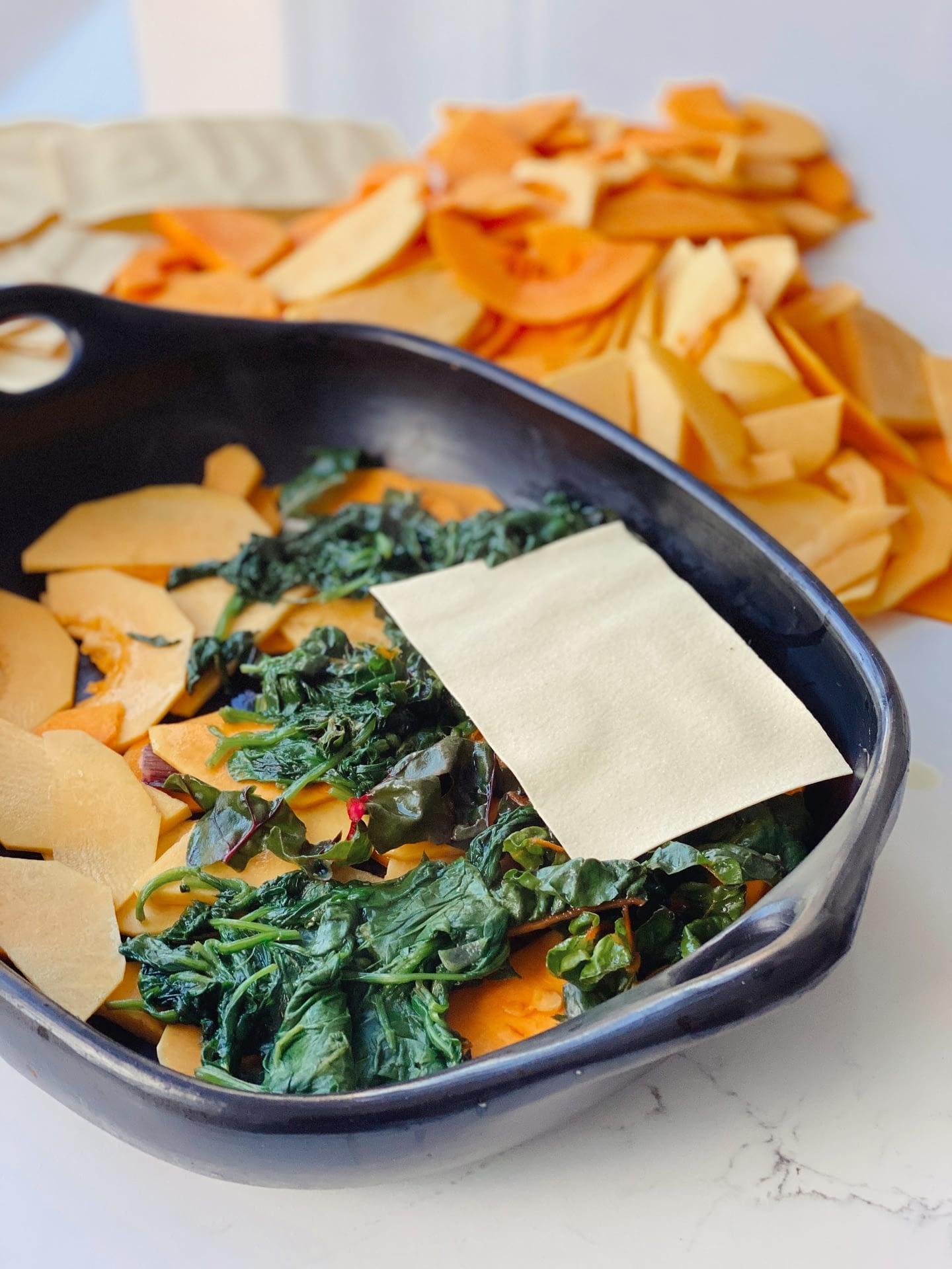 Lasagne automnale au butternut et épinards frais